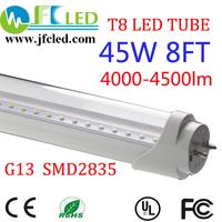 Super quality 100pcs 96'' led tube 8ft 45w led tube 2400mm 4000-4500lm 2835smd t8 led fluorescent tube lamp single pin led tube