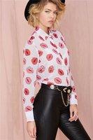 blusinhas femininas 2014 women chiffon blouse,sexy kiss lip print shirts ladies women's tops,blusa feminina,vetement femme