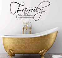 Family Where Life Begins Home Large Characters Wall Sticker Decal Mural Wallpapers for Drawing Living Room