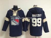 2014 Hockey Hoodie New York Rangers 99 Wayne Gretzky Blue Old time swearshirt NHL Hoodie,Stitched Logo
