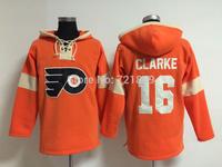 Free shipping Best quality,Philadelphia Flyers 16 Bobby Clarke CCM Orange C Patch Hockey Hoodies Ice Winter Authentic Hoodie