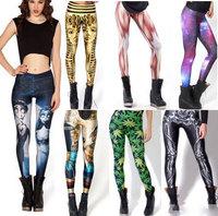 luckyday Plus Size XS-L XL-XXL knittde Spandex leggings Black Milk Galaxy Print fitness leggings women pants mid ankle length