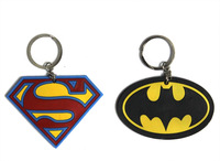10pcs/lot Superman Batman Heroes Series Action&Toy Figures logo double-sided keychains wholesale toys gift