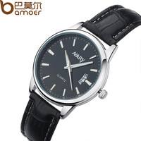 Nary Brand Leather Quartz Watch with Calendar Analog Black Brown Face Dress Women and Men Wristwatch Clock WA1105