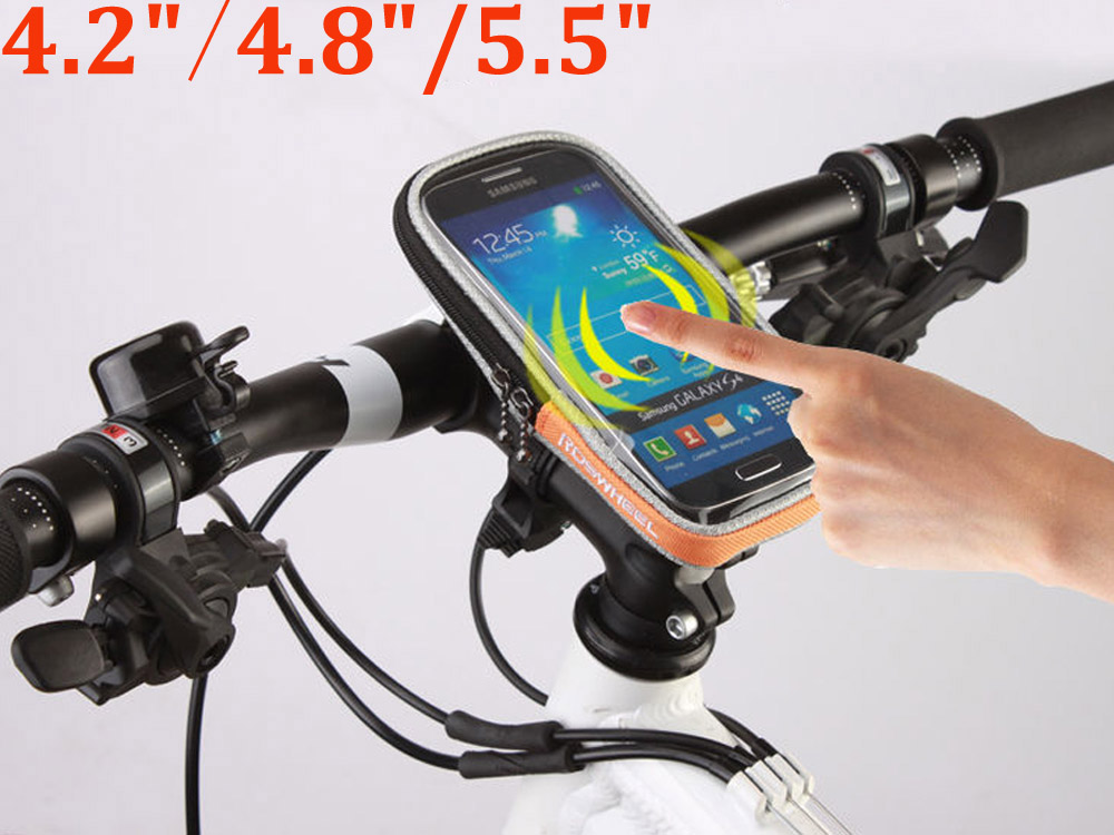 """ROSWHEEL 4.2"""" 4.8"""" 5.5"""" Phone Bicycle Handlebar Bag Case Touch Screen Bike Bag Pouch Waterproof 840D Polyester PVC Cycling Bags(China (Mainland))"""