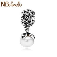 SAMENG 1Pc Silver Bead Charm European Silver With Venetian Pearl Charm Pendant Bead Fit BIAGI Bracelet Fit pandora 9BD0003