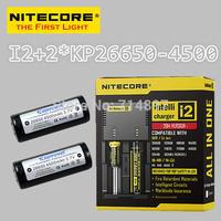 Free shipping original NITECORE I2 intelligent digital battery charger + 2 pcs keeppower KP 26650 4500mah rechargeable batteries