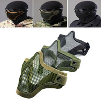 2 pcs Wholesale High Quality Half Face Metal Net Mesh Protective Mask Outdoor Airsoft  Black Army Green Grey