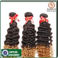 3pcs Lot Omber Deep Wave Hair Malaysian Human Hair Weaves Wavy Tangle&Shedding Free Shangkai Hair Products