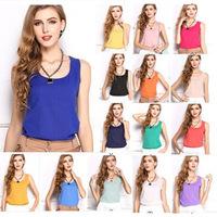 Summer New S-XXXL Size Women Fashion Chiffon Tank Tops Vest Shirts,girls 15 Candy Color  Loose Top Shirt blusas,women clothes