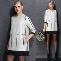 XL- 4XL 2015 Spring Fashion Women Brilliant Jacquard Designers Straight Work Dresses Office Lady Vintage Dress Plus size XXXXL