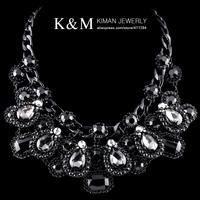 New Luxurious Black Gun Plated Wholesale Crystal Fashion Women Statement Jewelry Chokers Necklace NK-01372 Free Shipping