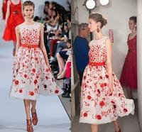 New Design Party Dresses O Neck Sleeveless A Line Mid Calf Handmade Appliques Organza Short Formal Evening Dress