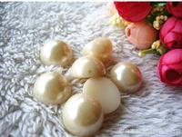 Cream white 18MM high-grade plastic semi-round pearl buttons Sew decorative buttons 100pcs