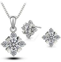 Valentine's day Gift! women Austrian crystal 925 sterling silver AAA zircon rhinestones necklace earrings jewelry sets,003