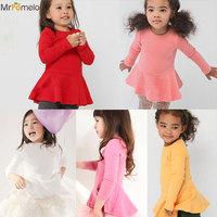2015 New Arrive Full Sleeve Girls Mini Dresses Casual vestidos ninas verano Long Sleeve Dress Girl t shirt Children's Clothing