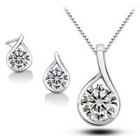 Valentine's day Gift! women bridal wedding 925 sterling silver AAA zircon rhinestones necklace earrings jewelry sets,001
