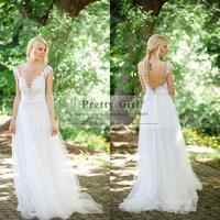 Romantic Lace Boho Garden Wedding Dresses Sheer Scoop Appliques Backless Cheap Wedding Gowns Bridal Dress 2015 Vestido De Noiva