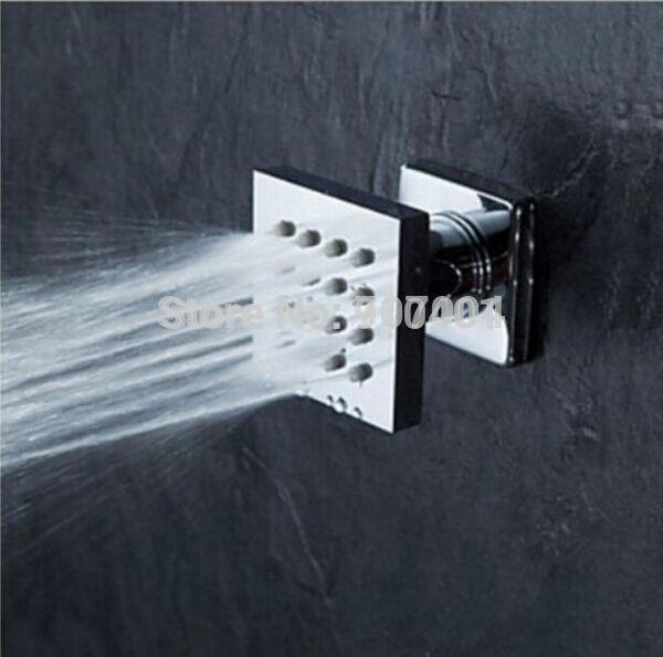 Free Shipping Chrome Finish Wall Mounted Bathroom Shower Massage Jet Square Brass Body Sprayer 1pc(China (Mainland))