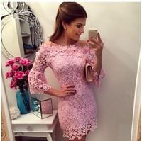 2015 new women summer lace casual dress fashion vestidos party dresses femininos vestido de renda festa