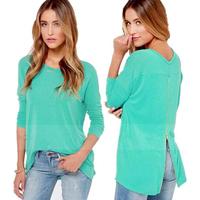 Sky Blue zipper Lady zipper Round collar t shirt Fashion Long sleeve women sexy T-shirts
