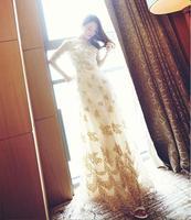 2015 Summer Floor Length Elegant Rhinestones Evening Party Dresses Women Casual Maxi Lace Dress Vestido de Renda Branco Feminino