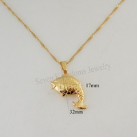 "Min order 10$  CAN MIX DESIGN 18K YELLOW REAL GOLD GP PLATED OVERLAY 18"" NECKLACE&VIVID CUTE  FISH SHAPE BEAUTIFUL PENDANT"
