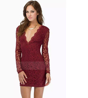 Big V-neck lace Slim Ladies Dresses Sexy fashion Back zipper woman solid color dress