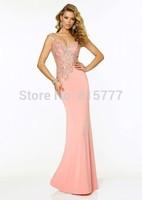 Pretty Sheath Sweetheart Spaghetti Straps Beaded Embellished Chiffon Long Discount Prom Dress
