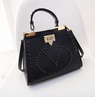 New 2015 Women fashion rivet pu leather handbags Women's vintage messenger bags female bolsos marca bolsas femininas Y74