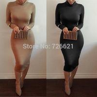 2015 Women Sexy Long Sleeve Casual Dress Turtleneck Black Long Maxi Winter Dress Party Clothing Bodycon Bandage Dress vestidos