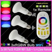 3x E27 Mi.Light 9W RGBW or RGBWW Par30 Mushroom Style WiFi Compatible LED Bulb AC85-265V+ 1x 2.4G RF Wireless 4-ZoneTouch Remote