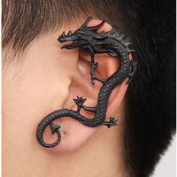 C26R12C Wholesale 12pcs/lot Retro Vintage Black Silver Bronze Punk Clip Wrap earrings Metal Dragon Bite ear cuff earrings