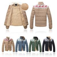 Men's Xmas Snowflake Reindeer Trench Coat Jackets Winter Warm Cotton Outwear