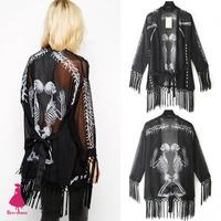 2015 Women Skull Skeleton Punk Perspective Chiffon Kimono Cardigan Tassels Fringed Blouse Top Black