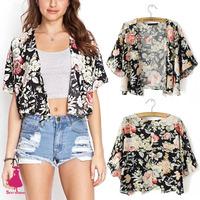 2015 Retro Lady Boho Hippie Black Peony Floral Print Kimono Cardigan Short Blouse Shirt Top