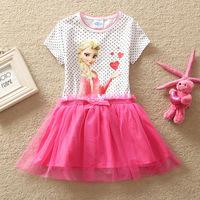 Retail,Baby girl dresses summer cartoon dresses 2015 girl's tutu dots dress kids children clothes girl dress children clothing