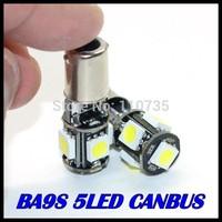 Free shipping 500pcs/lot BA9S 5SMD 5050 White CANBUS led Error Free Interior Car H6W 5 LED Light Lamp Bulb ba9s 12V