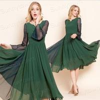 Brand New Fashion 2015 Spring Summer Chiffon Tropical Elegant Dresses Women Desigual Long Sleeve MIDI Vintage Party Dress Green