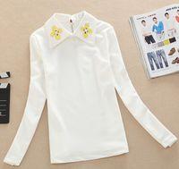 2015 new fashion spring women long-sleeved white Shirt embroidered beading shirt