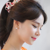 C24R14C Korean earrings star models female after hanging imitation pearl errings women