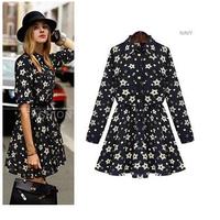 Plus size clothing 2015 fashion turn-down collar long-sleeve print slim one-piece dress