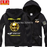 Fall and winter clothes hooded fleece zip cardigan Hoodies headshot CF Cross Fire jacket for men and women