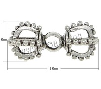 Free shipping!!!Zinc Alloy Jewelry Beads,Statement, Vajra, antique silver color plated, nickel, lead & cadmium free, 18x8mm