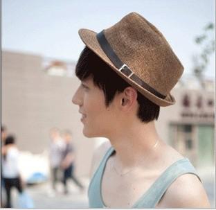 fashion mens hats 2015 summer hat straw top hats sombreros cool sun hat(China (Mainland))