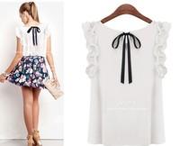 Women Shirts Blouses 2015 Summer Tops White Blouse O-neck Blusa Chiffon Bow Peplum Sleeve Blusinhas Hot Sale Ladies Blouses
