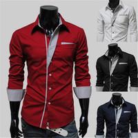 2015 New Dress Fashion Quality Long Sleeve Shirt Men.Korean Slim Design,Formal Casual Male Dress Shirt.Solid Color.Stripe CF
