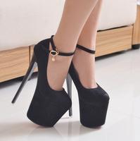 flock women 19cm sexy rhinestone high heels black shoes female fashion platform pumps sy-1050