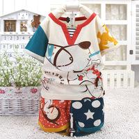 2015 New summer baby short sleeve suit character lovely dog children clothing set 4026