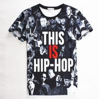[Magic] Free shipping 2015 Men/Women t shirt characters and letters printing 3D High quality hip hop man T- shirt 1859 M-XL